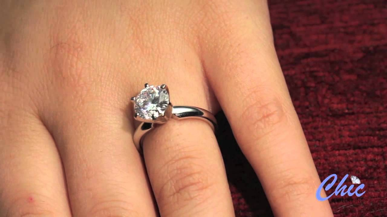 e27a415bd ELEGANT TIFFANY STYLE SOLITAIRE RING WITH ROUND HIGH QUALITY CZ-ITEM #8015  - YouTube