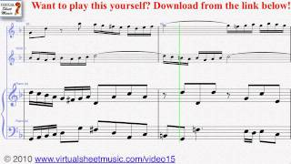 Bach's Concerto in D Minor - Double two violins and piano sheet music - Video Score