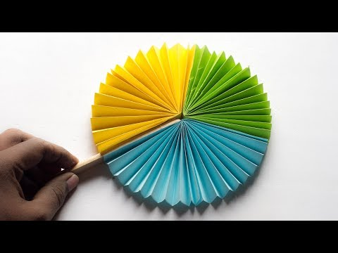 Hand Fan - How to make paper hand fan  - Try at Home - DIY
