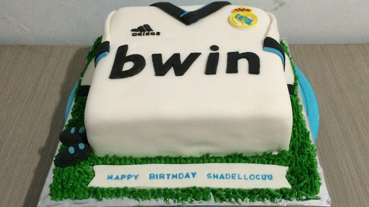 Jersey Real Madrid Cake Fondant Icing YouTube - Real birthday cake images