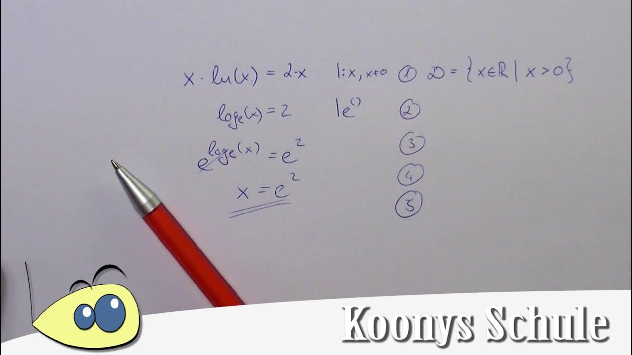 Logarithmusgleichung, einfaches Beispiel, x·ln(x) = 2x, Gleichungen ...