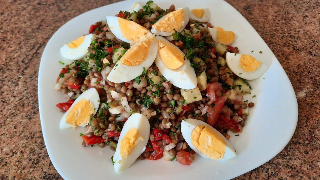 Ensalada de lentejas con verduras *receta saludable y fresca