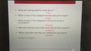 introduction of topic, angle, and purpose of writing