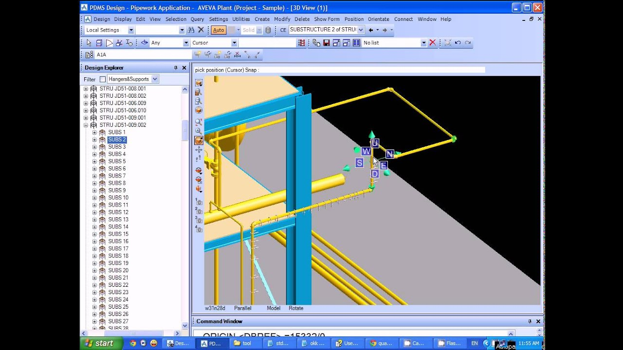Create Pipe Support On Pipe In Pdms Youtube