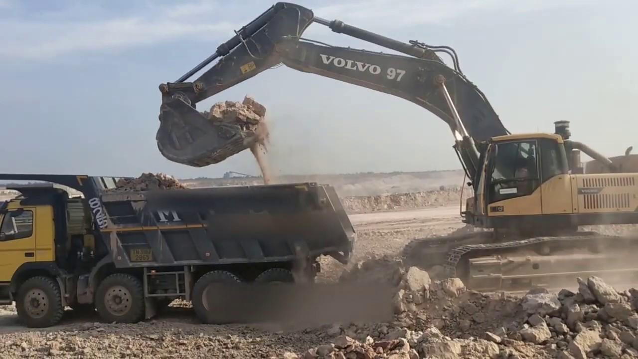 Volvo 480 DL Excavator Loading hard material To Dumper