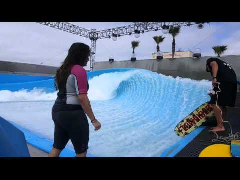 2 girls first time on the Flowrider barrel at wavehouse san diego surf machine