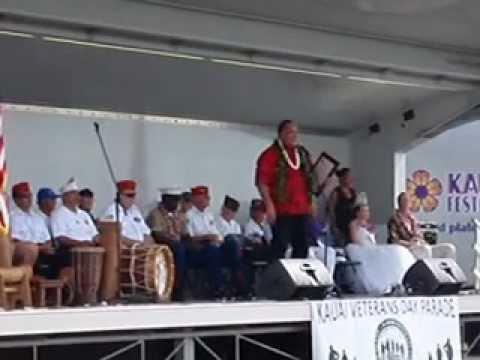Mayor Bernard Carvalho Kauai Hawaii sings America the Beautiful Veteran