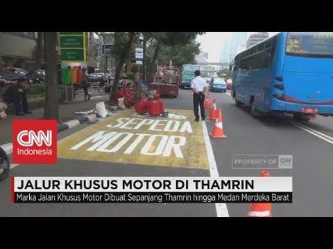 Jalur Khusus Motor di Thamrin, Sepanjang Jalan Thamrin - Jalan Medan Merdeka Barat