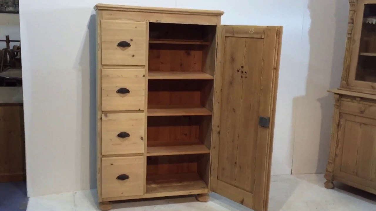 Antique Pine Larder Cupboard - Pinefinders Old Pine Furniture Warehouse - Antique Pine Larder Cupboard - Pinefinders Old Pine Furniture