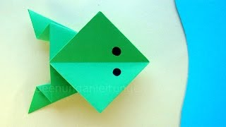Origami Frosch basteln mit Papier - Papier falten mit Kindern - DIY Tiere basteln - Ideen