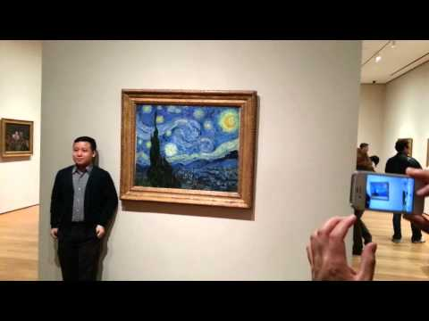 Tourist Bangs Vincent Van Gogh Starry Night at the Metropolitan Museum of Modern Art - MoMA