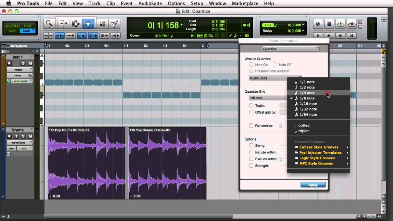 Quantizing Audio and MIDI in Pro Tools