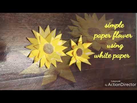 DIY, Simple Paper flower using white paper, Paper sunflower