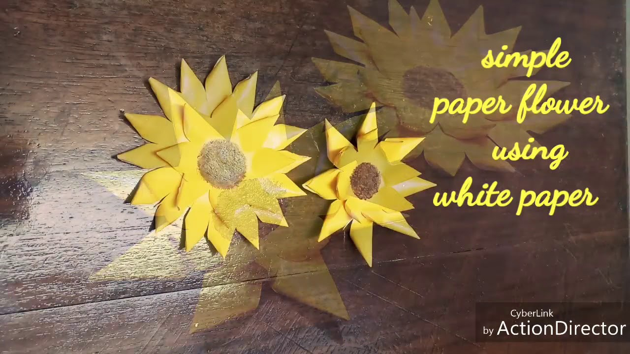 Diy Simple Paper Flower Using White Paper Paper Sunflower
