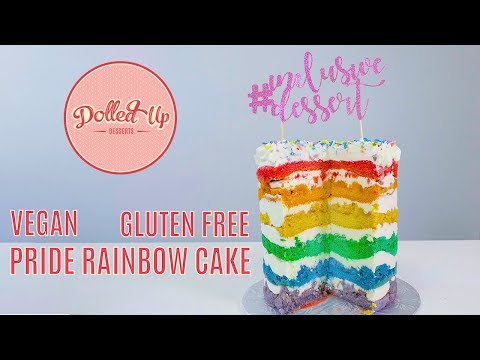 Rainbow Pride Cake Recipe (Vegan + Gluten Free) | Dolled Up Desserts