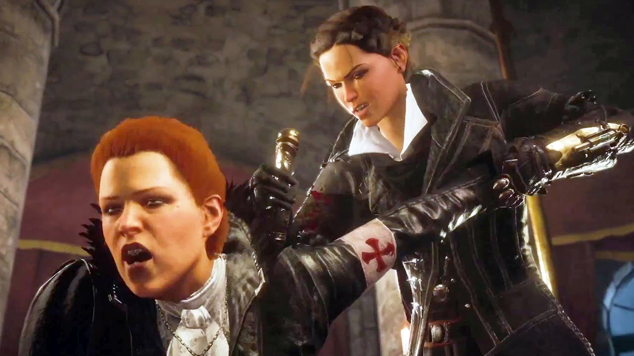 Evie Frye murdering Lucy Thorne in Assassin's Creed Syndicate.