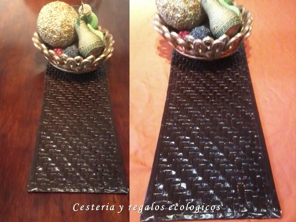 Camino de mesa tejido con tiras de papel youtube - Cesteria con papel periodico paso a paso ...