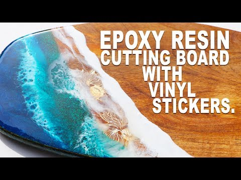 Epoxy Resin cutting board with vinyl Gold fish :)