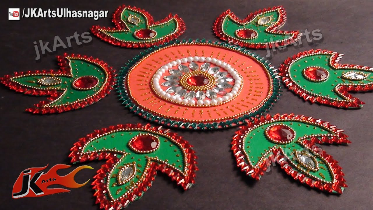 Diy kundan rangoli design on cardboard mountboard h for Home made rangoli designs