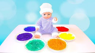 Learn colors with Baby Born Elina pretend play with doll and food