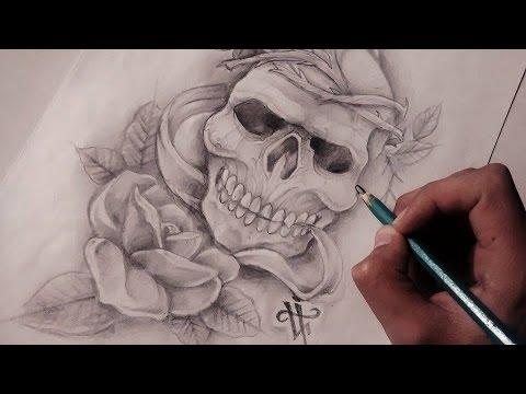 Diseño De Calavera Rosa Realista Realistic Skull Rose Nosfe