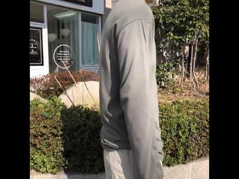 루즈핏 기본 긴팔 티셔츠-카키