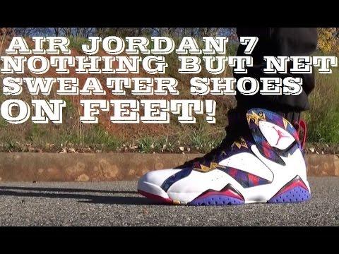 7544210fff82 Air Jordan 7 Nothing But Net Sweater Shoe On Feet Review - YouTube