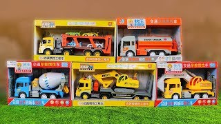 Construction Vehicles toys for kids: Toy UNBOXING - MB Excavator Dump Truck Cement Mixer Loader