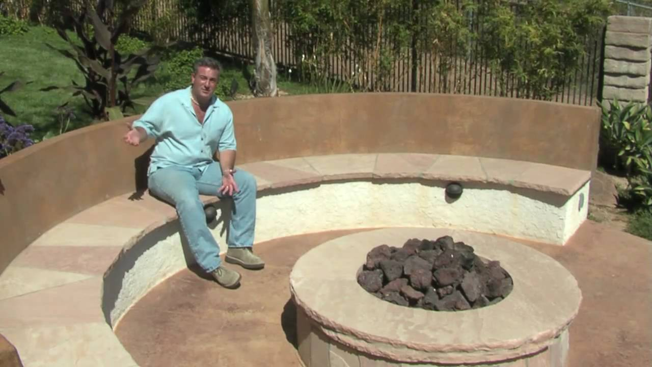 Round Fire Pit & Seat Walls - YouTube
