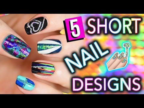 5 Easy Nail Art Designs for SHORT NAILS (Holosexuals) | PART #2