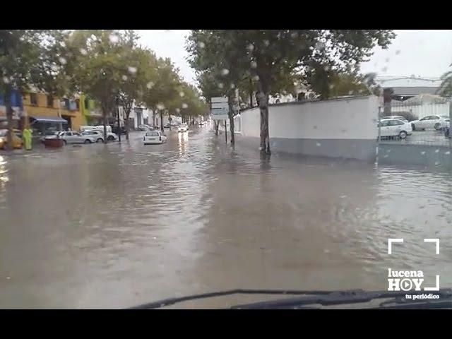 Vídeo: La borrasca deja unos 45 l/m2 en Lucena.  La tormenta anega el puente de Cabra