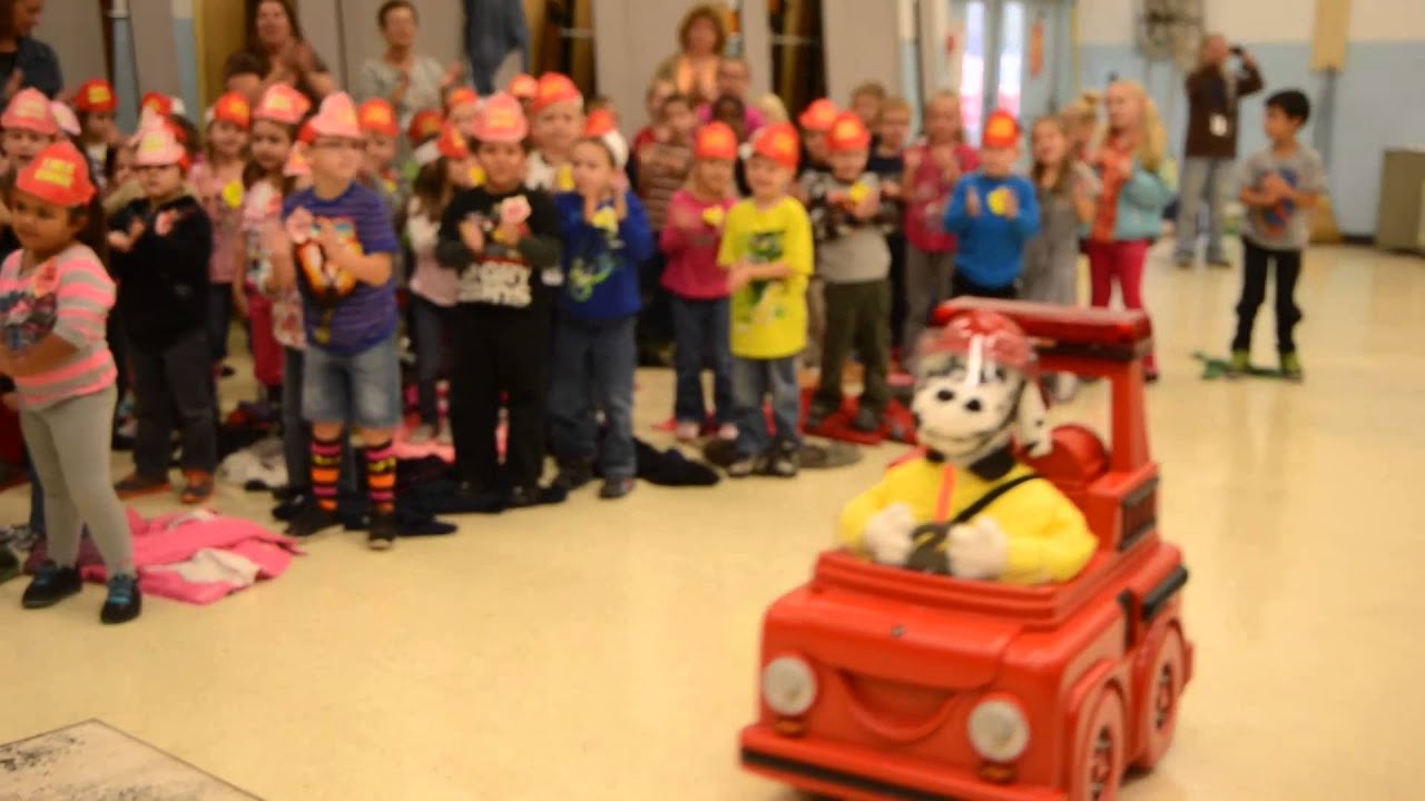 sparky the fire dog robot. fire prevention with patches the dog sparky robot