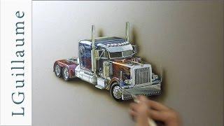 drawing realistic Optimus Prime truck