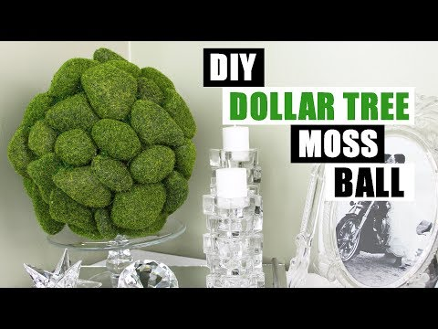 DIY DOLLAR TREE MOSS COBBLE BALL DIY Home Decor Large Moss Rock Ball