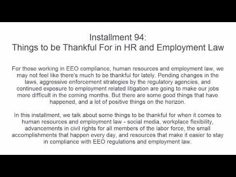 Things to be Thankful For in Human Resources and Employment Law