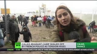 Riot police block Calais