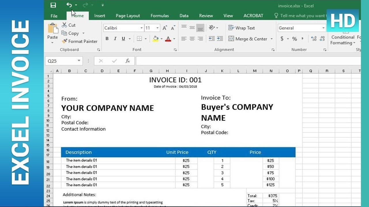 How To Create An Invoice Template In Excel Excel Tutorial Youtube