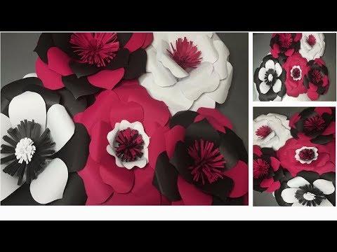 Flores De Papel Gigantes Rosas De Cartulinas Paso A Paso Youtube