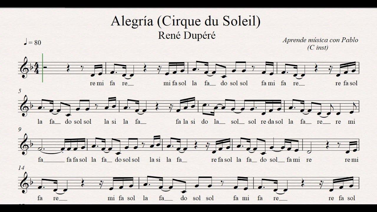 Alegría Cirque Du Soleil Flauta Violín Oboe Partitura Con Playback Youtube