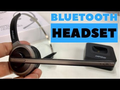 Mpow Bluetooth Headset with Charging Station Noise Cancelling Microphone Bluetooth Headphones for Office//Cell Phone//Skype//Driver 17 Hrs Bluetooth Headset Talktime//180 Hrs Charging Dock