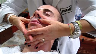💈 Straight Razor shave with hot towel and face massage - Old School Italian Barber - ASMR sounds