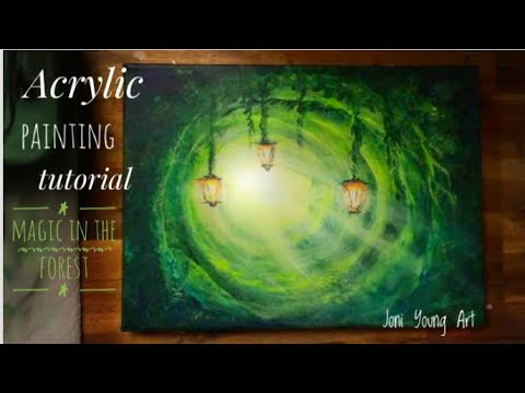 Acrylic painting tutorial/ How To Paint Lanterns In The Forest""