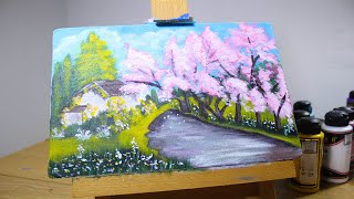 Acrylic Painting - Spring Pink Trees Step by Step for Beginners