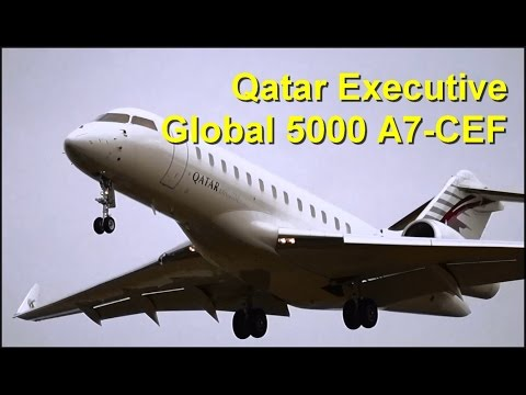 Qatar Executive Bombardier Global 5000 A7-CEF Landing @ Clermont Airport