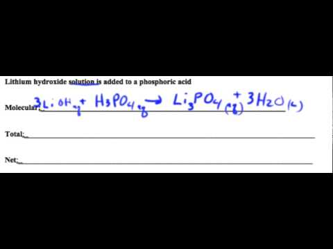 Net Ionic Eq  Litium Hydroxide + Phosphoric Acid