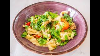 цУЙВАН - монгольская домашняя лапша с мясом и овощами. Простой рецепт, очень вкусного блюда
