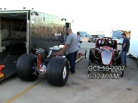 Phil Wickard and Travis Wickard dragster and Fiat Topolino Warming up for a night of fun
