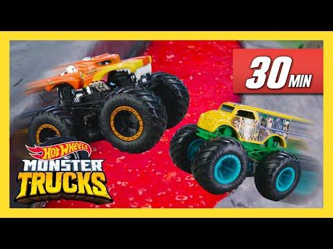 Racing On FALLING Tracks! | Monster Trucks | Hot Wheels
