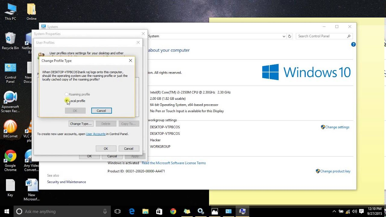 how to make windows 10 work on a local account