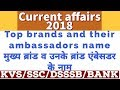 Current affairs    Top brand and their ambassador 2018   brand ambassador name list in hindi 2018